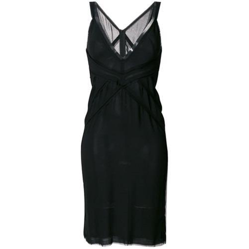 Vestido com decote preto em seda e viscose, Dsquared2. Possui decote profundo e fechamento traseiro por zíper.