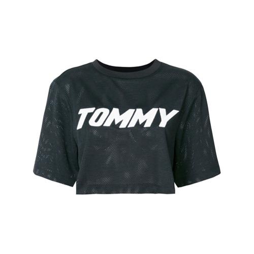 Camiseta 'Tommy Hilfigher x Gigi' preta em algodão, Tommy Hilfiger.