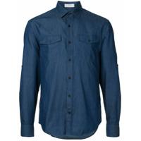Cerruti 1881 Camisa Jeans Com Patch - Azul