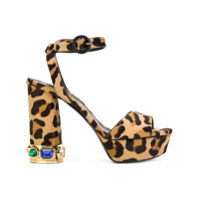 Casadei Sandália Com Estampa De Leopardo - Brown