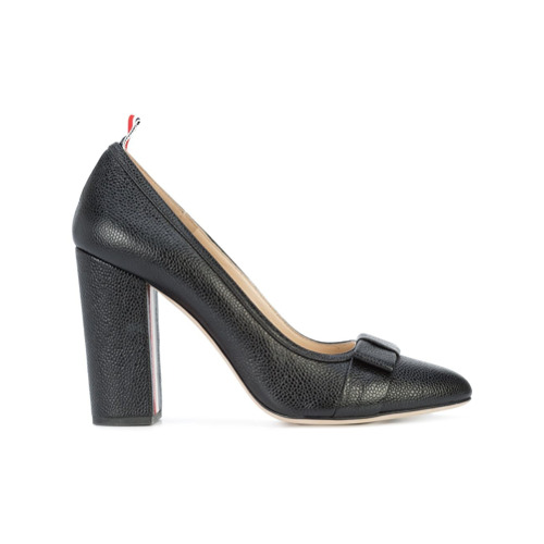 Black leather High Heel With Bow In Black Pebble Grain from Thom Browne.