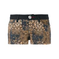 Philipp Plein Shorts Com Estampa Leopardo - Preto