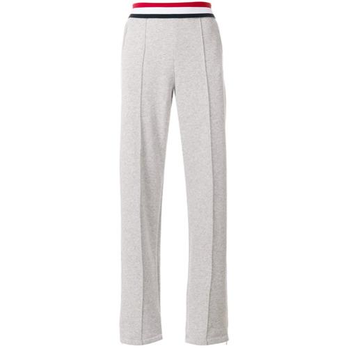 Calça esportiva listada 'Gigi Hadid' cinza em algodão com stretch, Tommy Hilfiger.
