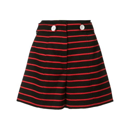 Short listrado preto e vermelho em lã e algodão, Proenza Schouler. Possui detalhe de botões na frente, listras horizonta...