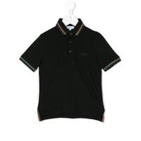 Boss Kids Camisa Polo Com Contraste - Preto