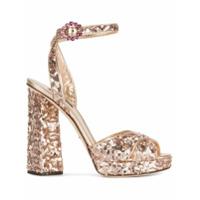 Dolce & Gabbana Sandália Com Paetês - Metallic