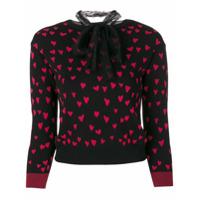 Red Valentino Blusa De Moletom Com Padronagem - Preto