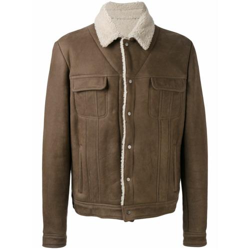 Jaqueta de couro com bolsos marrom, Salvatore Santoro. Possui colarinho, mangas longas, bolsos frontais com lapelas, fec...