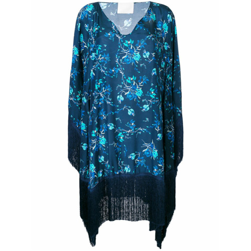 Navy blue cotton Ding With the Wild fringed kaftan from Athena Procopiou.