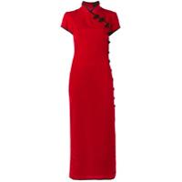 De La Vali Vestido Longo De Veludo - Vermelho