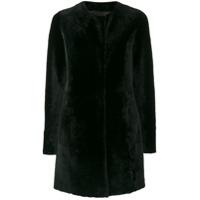 Drome Furry Buttoned Up Coat - Preto