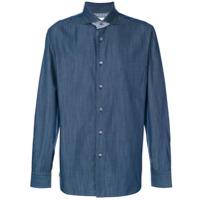 Brioni Camisa Com Detalhe Xadrez - Azul
