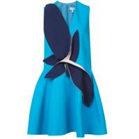 Delpozo Vestido Evasê Com Patch - Azul