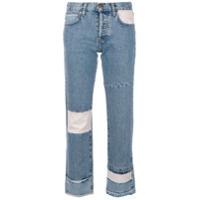 Current/elliott Calça Jeans Cropped Com Patchwork - Azul