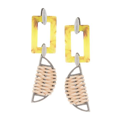 Imagem de Ader.Bijoux Par de brincos assimétricos - Amarelo E Laranja