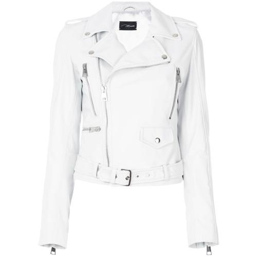 Jaqueta de couro branca, Manokhi. Possui colarinho com lapelas, abertura frontal deslocada com zíper, detalhe de dragona...