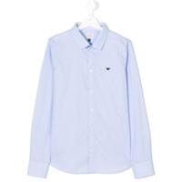 Armani Junior Camisa Com Logo Bordado - Azul