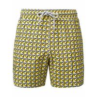 Capricode Shorts De Natação Estampado - Amarelo E Laranja