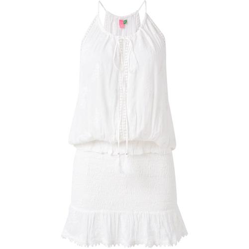 Farm Vestido com franzidos - Branco