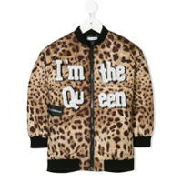 Dolce & Gabbana Kids Jaqueta Bomber Com Patch 'queen' - Brown