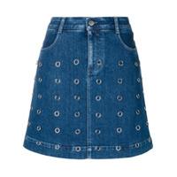Stella Mccartney Saia Jeans Com Aplicação De Argolas - Azul