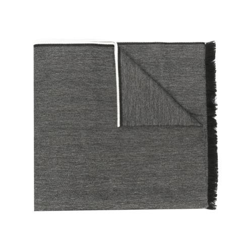 Echarpe cinza com logo em lã mista, Kenzo. Possui acabamentos desfiados.