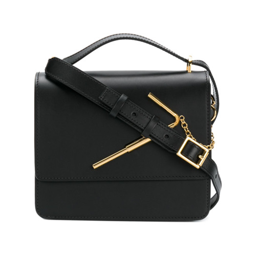 Black leather satchel with gold-tone hardware from Sophie Hulme.