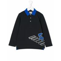 Armani Junior Camisa Polo Com Logo Estampado - Azul