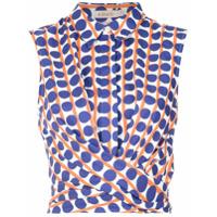A.brand Camisa Pois Afro Com Faixa - Azul