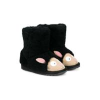 Emu Kids Ankle Boot Com Contraste - Preto