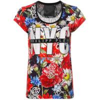 Philipp Plein Camiseta Floral 'nyc' - Vermelho