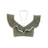 Framed Top Cropped Babados 'double Layer' - Green
