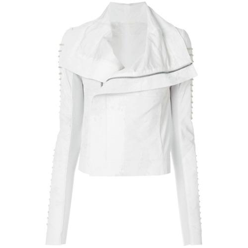 Jaqueta biker branca em couro e lã, Rick Owens. Possui mangas longas, drapeado, detalhe de pregas, forro e fechamento fr...