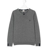Armani Junior Blusa De Moletom Com Logo - Grey