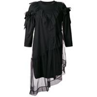 Simone Rocha Vestido Com Recortes Translúcidos - Preto