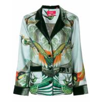 F.r.s For Restless Sleepers Blazer De Seda Estampado - Green