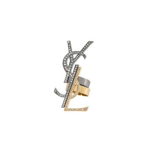 Imagem de Saint Laurent Par de anéis desestruturados - Metallic