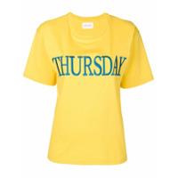 Alberta Ferretti Camiseta Com Bordado 'thursday' - Amarelo E Laranja