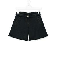 Chloé Kids Short Jeans Com Barra Desfiada - Azul