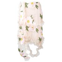 Simone Rocha Saia reta com bordado floral - Nude & Neutrals