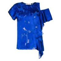 Dvf Diane Von Furstenberg Blusa Com Babado - Azul
