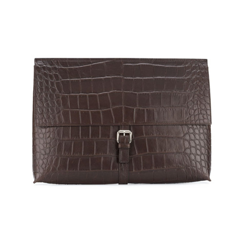 Brown leather foldover buckle pouch from Orciani.