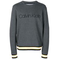 Calvin Klein Moletom Com Acabamento De Listras - Cinza