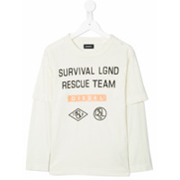 Diesel Kids Camiseta mangas longas 'Rescue Team' - Branco