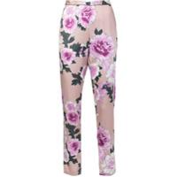 Fleur Du Mal Calça De Pijama Em Seda Floral - Pink & Purple