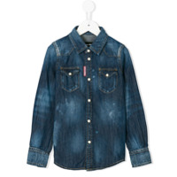 Dsquared2 Kids Camisa Jeans - Azul