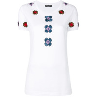 Dolce & Gabbana Camiseta Com Bordado Floral - Branco