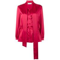 Balenciaga Blusa 'lavalliere' De Seda Com Amarração Na Gola - Vermelho