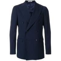 Corneliani Blazer Com Abotoamento Duplo E Textura - Azul