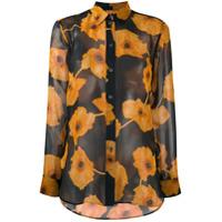 Paul Smith Camisa De Seda Translúcida Com Estampa Floral - Azul